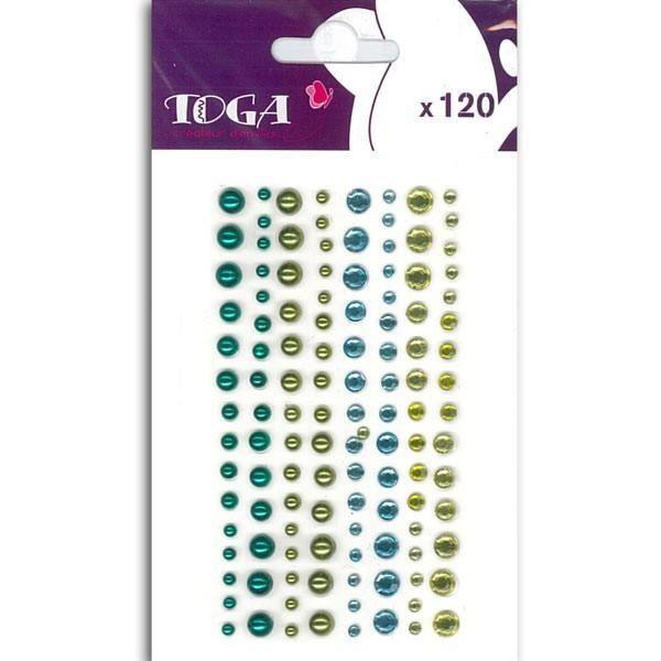 TOGA 120 Strass Et Perles Bleu & Vert