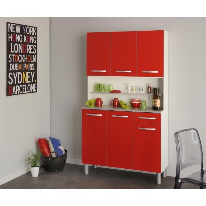 Panneaux de particules rouge mat - L 101 x P 40 x H 185 cm - 6 portes, 1 tiroir, 2 niches.BUFFET DE CUISINE