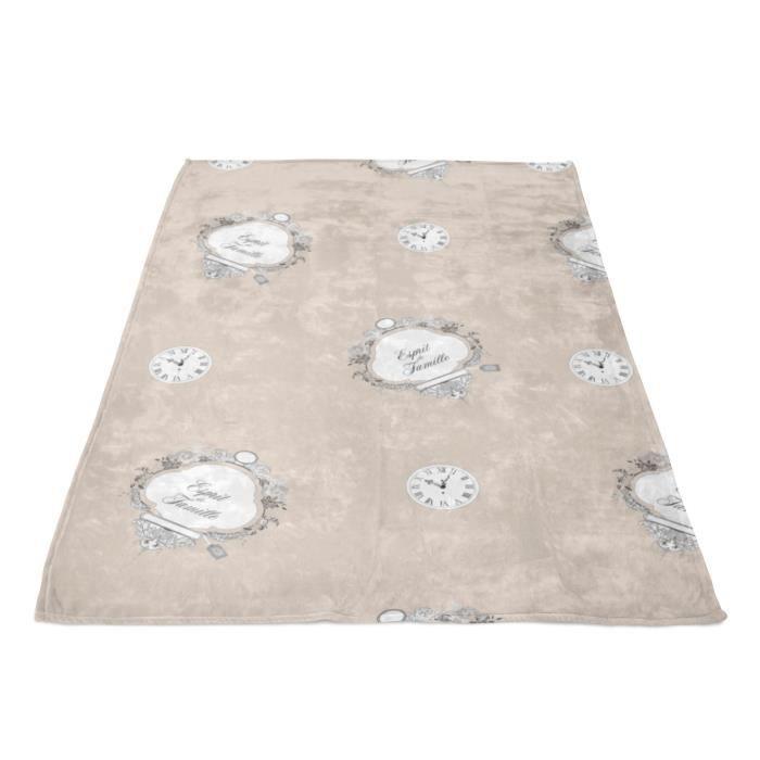 SOLEIL D' OCRE Couverture polaire microfibre Esprit de Famille - 180 x 220 cm - Taupe
