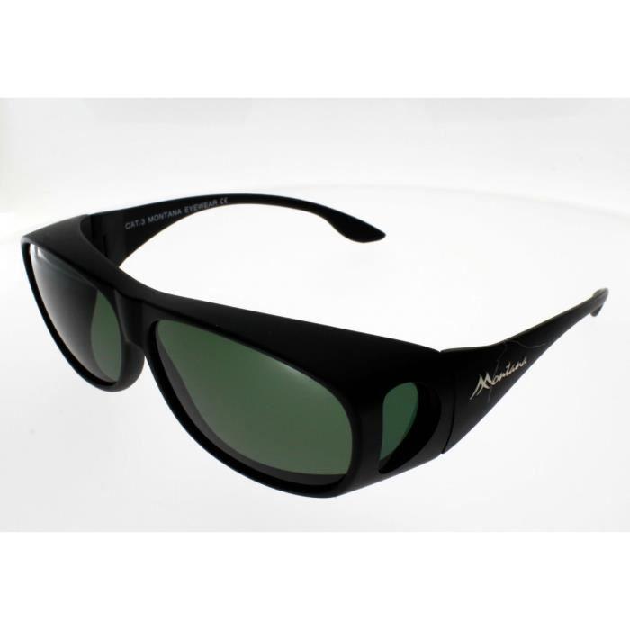 SUR-LUNETTES MONTANA FO2F, noir mat, polarisées Adulte - Protection 100% UV 400 - Indice 3