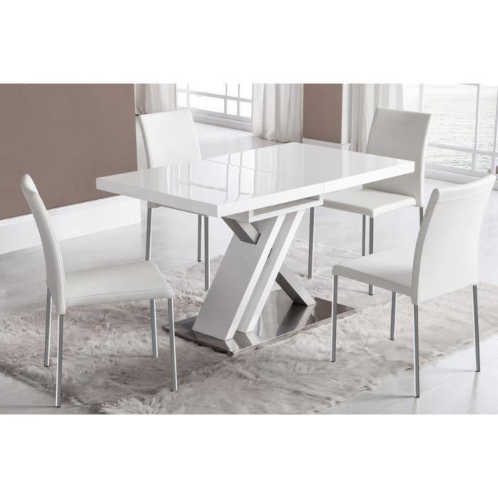 Table salle a manger laque blanc exctensible - Achat / Vente pas cher