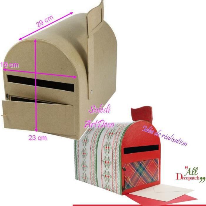 boite aux lettres am ricaine en carton urne mailbox us avec drapeau 19x23x29cm unique. Black Bedroom Furniture Sets. Home Design Ideas