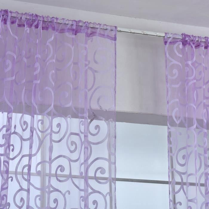 rideau voilages oeillet flocage motif crochet d - Rideaux Chambre Fille