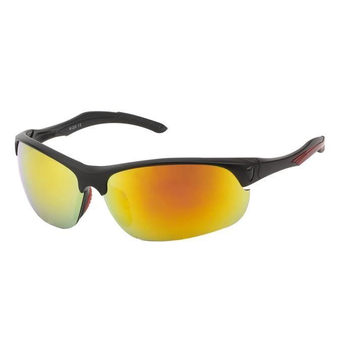 Lunette soleil sport confortable-S515 Noir, verre miroir orange