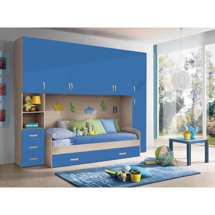 Chambre d\'enfant complète HURRA combiné lit pont décor orme / bleu ...