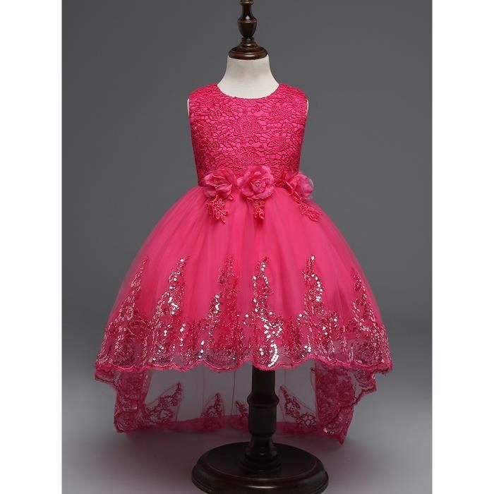 Robe sans manches de fille fleur robe princesse décoration à sequins
