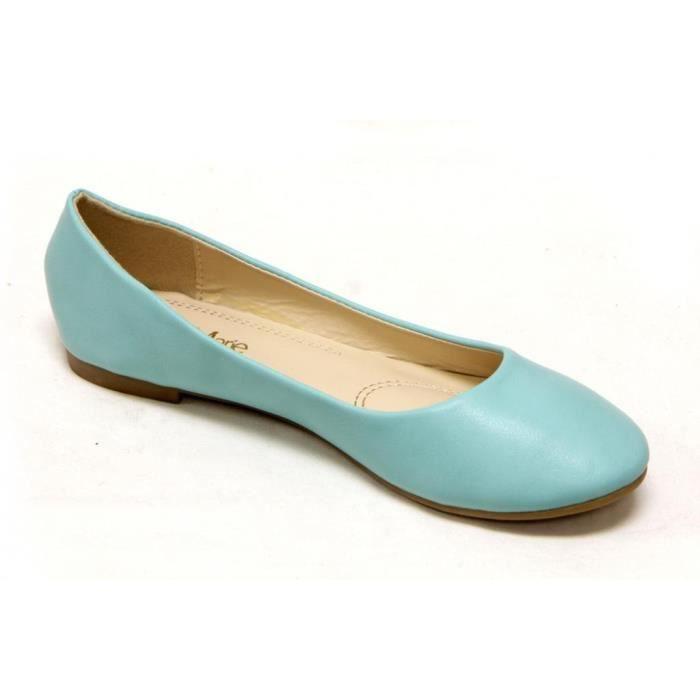 Bella Marie Ballerine classique confortable ronde Slip Flats Toe Shoes sur H6JS1 Taille-37