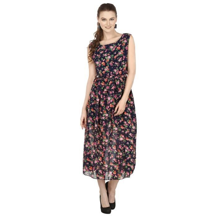 Womens Blue & Pink Printed Sleeveless Maxi Dress AT3XV Taille-38