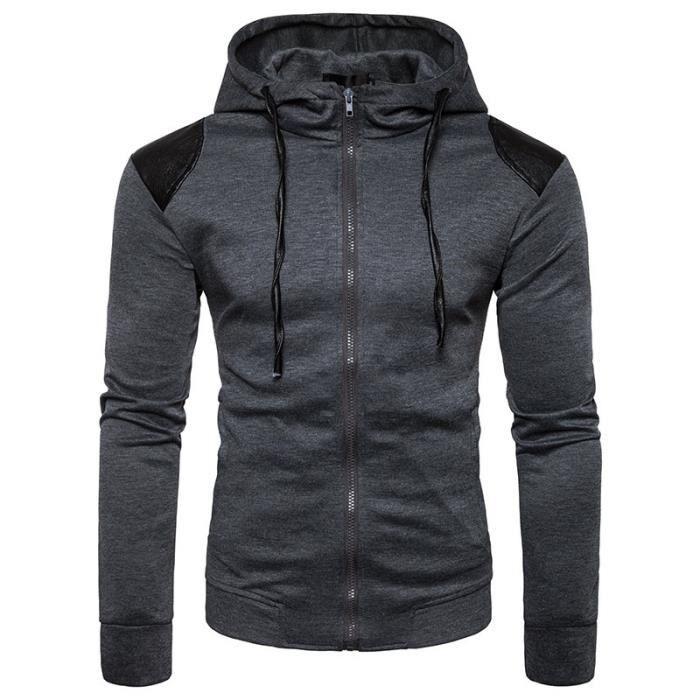 Sweat capuche hommes uni de marque luxe pas cher en PU cuir Sweat shirt  homme Vêtement Masculin Manches Longues 12a3f0891a58