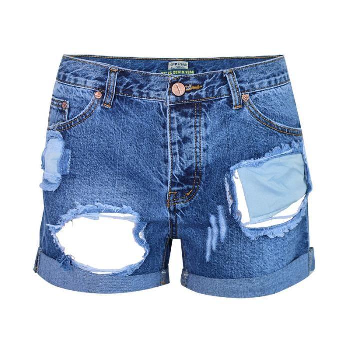 Jean Brisée Femme Trouée Pantalon Short Poche Boutons Nouvelle En 1x601OwqI