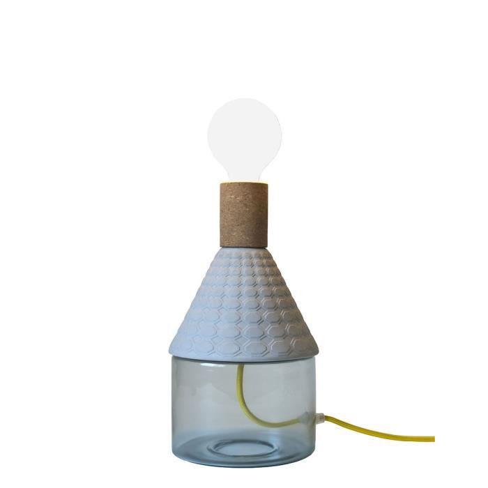 LAMPE A POSER MRND-Lampe à poser Verre & Porcelaine H29,5cm Bleu