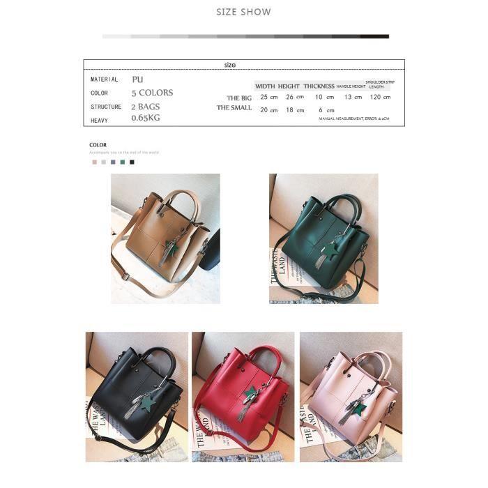 sac à main Sac composite 2 Sacs - Set Fashion Designer femmes avec un petit sac haute qualité PU en cuir Tassel-465