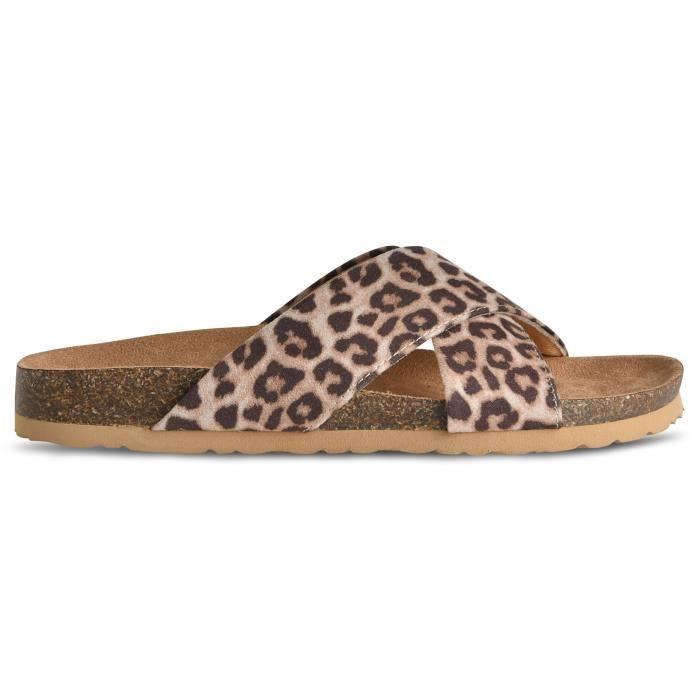 Women's Slip On Comfort Slide Sandals - Low Cork Bottom Platform Flats - Open Toe J13MG Taille-42