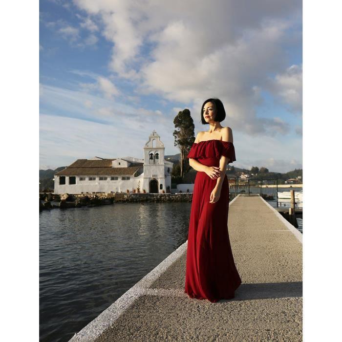 Halter Ruffles élégantes femmes réglable demoiselles dhonneur robe 07201 2WVRBH Taille-46