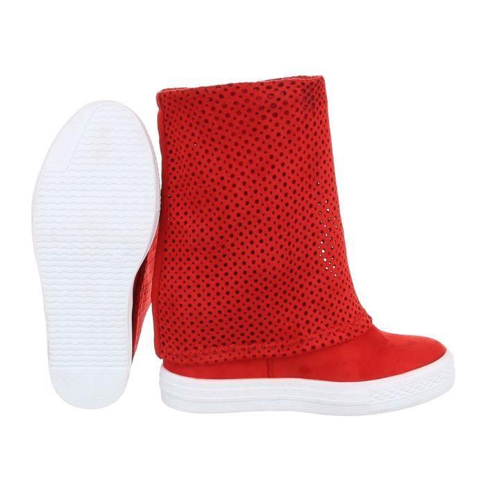 Femme chaussures bottillon perforéWedges rouge 41