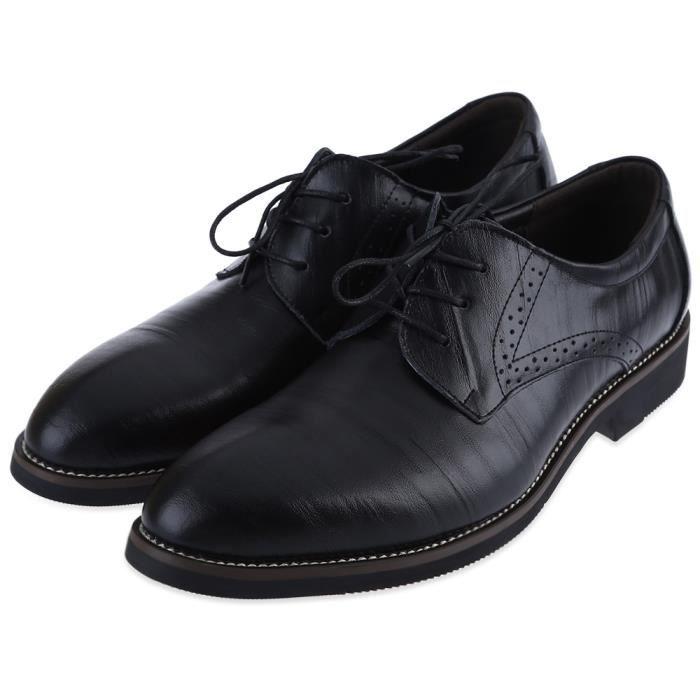 Junsite hommes Derbies Casual Lace Up Toe Pointu Chaussures en cuir Oxfords Flats