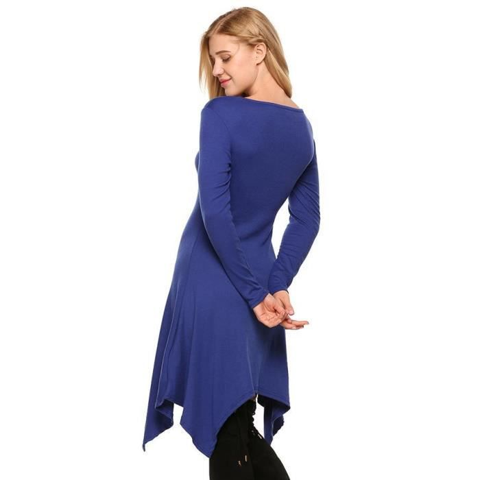 longues à ligne Robe manches de solide en genou Taille haute Longueur asymétrique wHx6xXtU