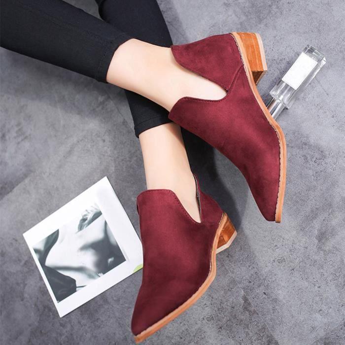 Faux Bottines Chaussures Boucle Bottes Femmes Talkwemot8589 Solides Martin Dames Chaudes c3Lq5R4Aj