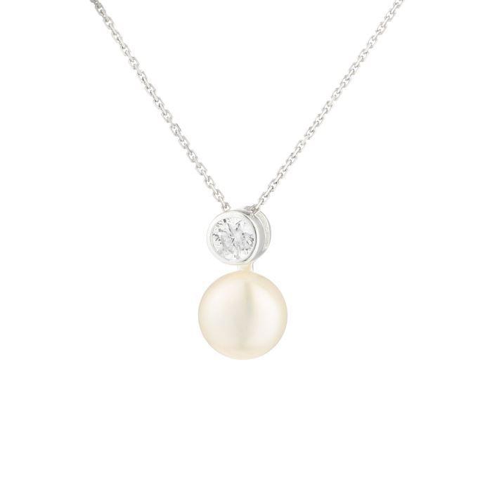 NACRE DE PERLE Collier Argent 925° Perle d'Eau Douce et Oxydes de Zirconium Femme