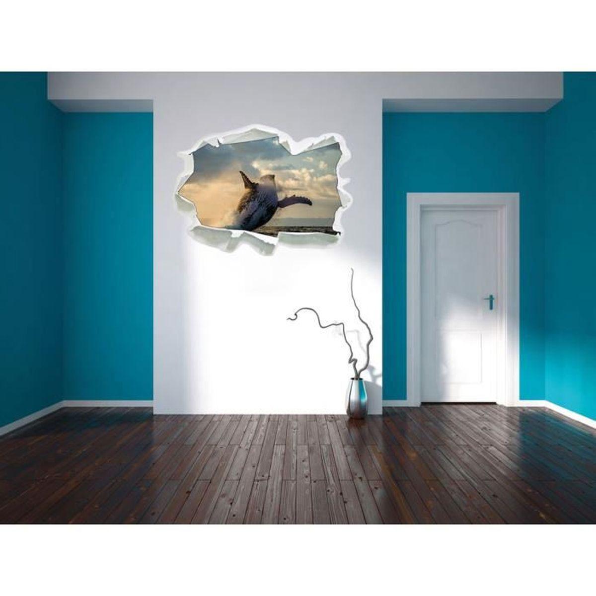 Humpbacks canada papier 3d taille de sticker mural 92x67 cm décoration murale 3d stickers muraux stickers