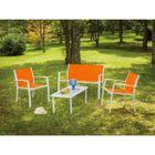 Salon De Jardin Saint Domingue 4 Places 1 Table Basse Orange