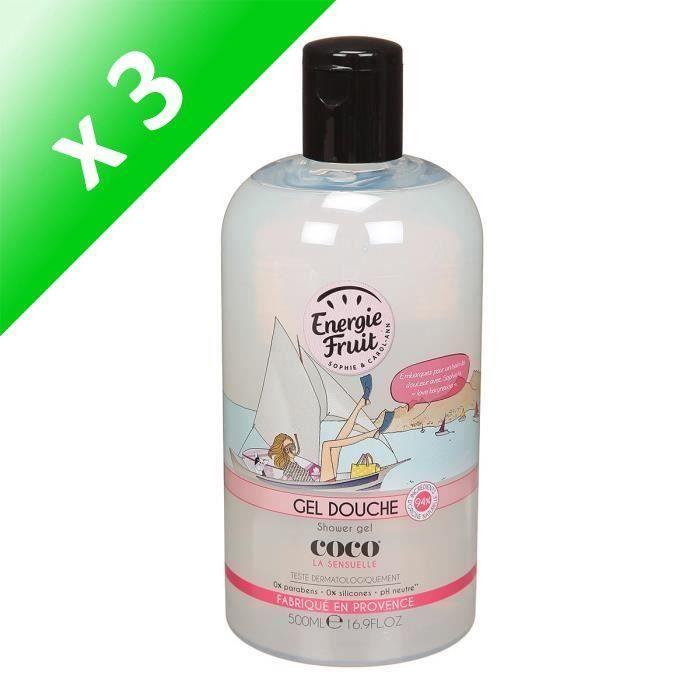 ENERGIE FRUIT Gel douche COCO La sensuelle - 500 ml (Lot de 3)