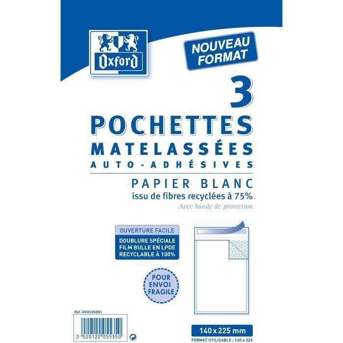 OXFORD Paquet de 3 Pochettes mat Kraft - 22,5 cm x 14 cm x 1 cm - Blanc