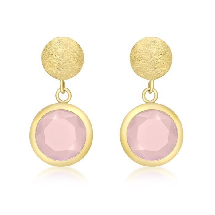 9 Ct Or Jaune Avec Pink Crystal Round Drop Earrings HVQCK