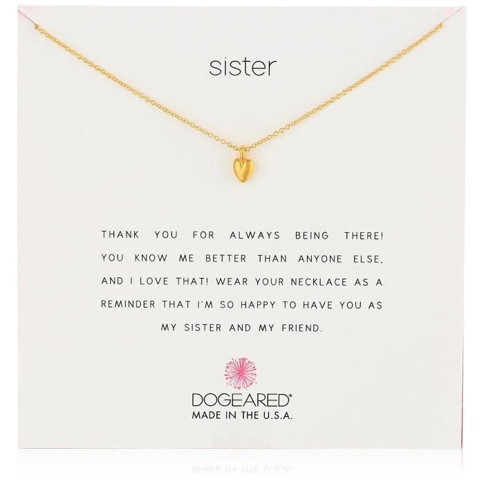 Dogeared Reminders Sister-baby Heart Charm Necklace, 18 K8BDB