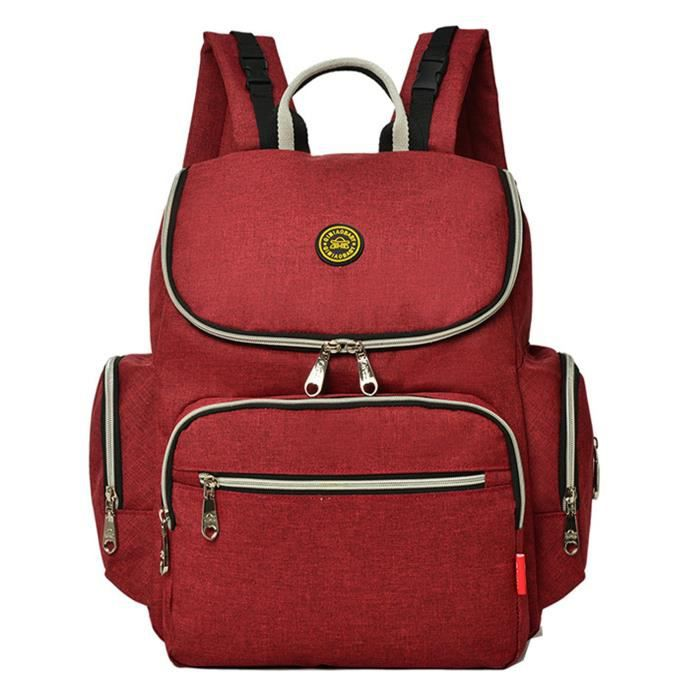 Baby Mummy À Maternity Changing Red Travel Diaper Bag Nappy Main Multifunction Sac Dos rrqw5Cz