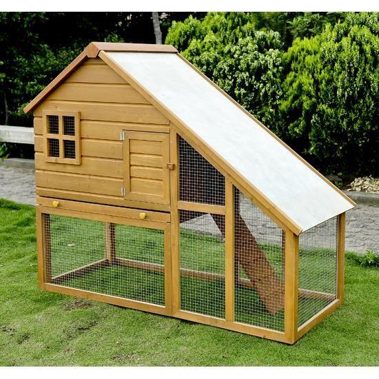 cage a lapin en bois de grande taille zingue avec rampe. Black Bedroom Furniture Sets. Home Design Ideas