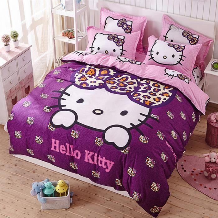parure de lit enfant hello kitty achat vente pas cher. Black Bedroom Furniture Sets. Home Design Ideas