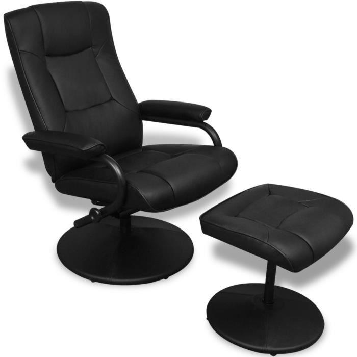 Fauteuil TV Chaise Longue en cuir artificiel noir avec tabouret