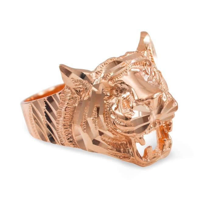 Bague Femme 10 ct 471/1000 Unisexe Or rose Diamant Coupe Tiger