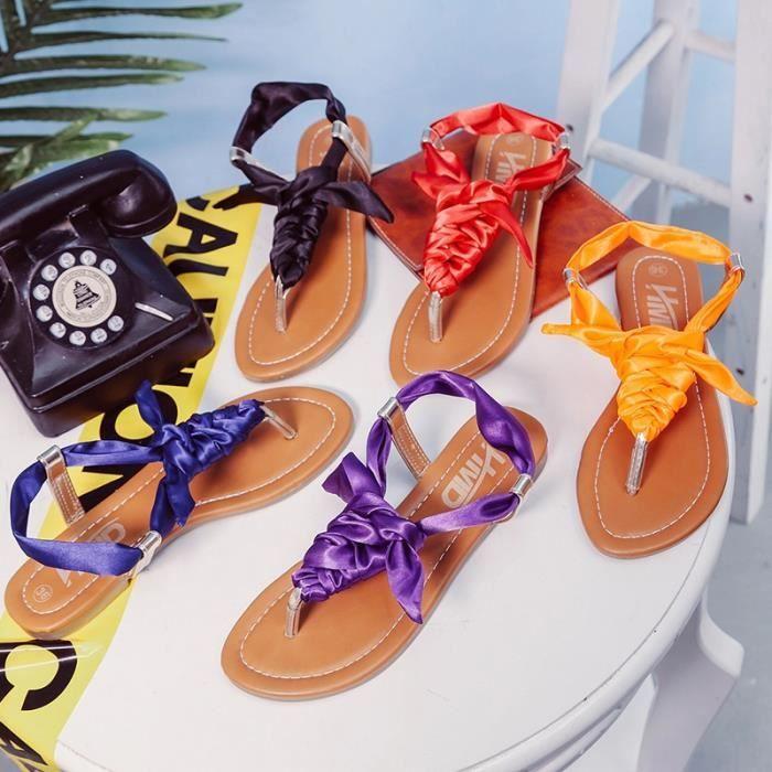 Sandales bricolage été pour les femmes chaussures mode ruban Banded Sandales