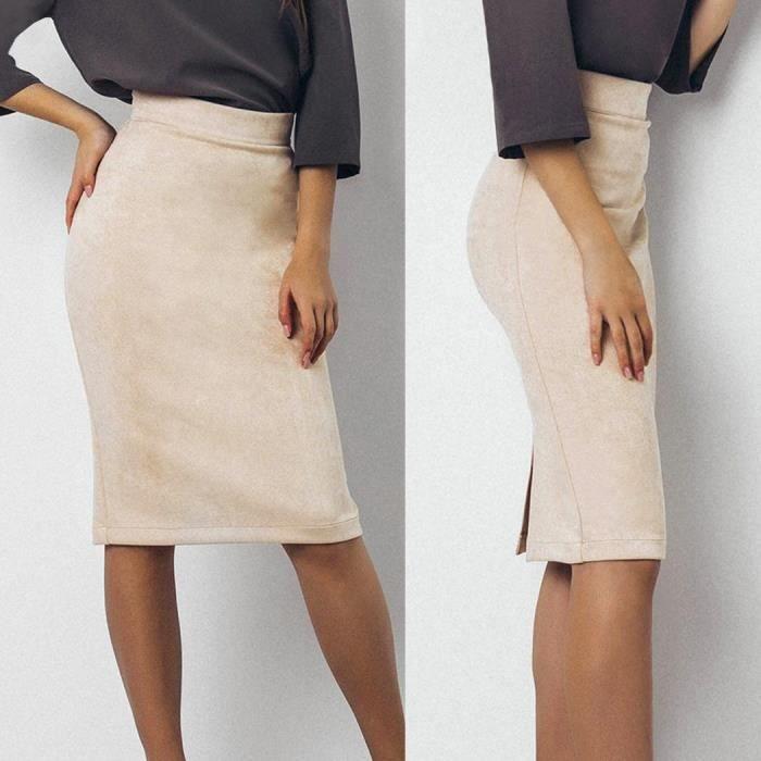 crayon Femmes taille robe Style jupe haute faux Suède élastique Vintage rqgT1wrvxz
