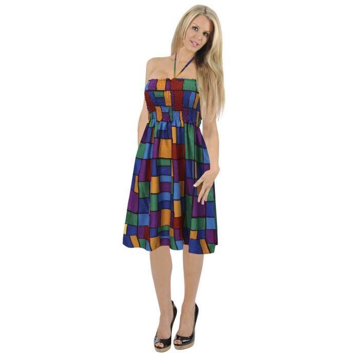 320e3476720 La Leela 3 dans 1 bustier robe dos nu jupe courte maxi femmes size tropical  tartan
