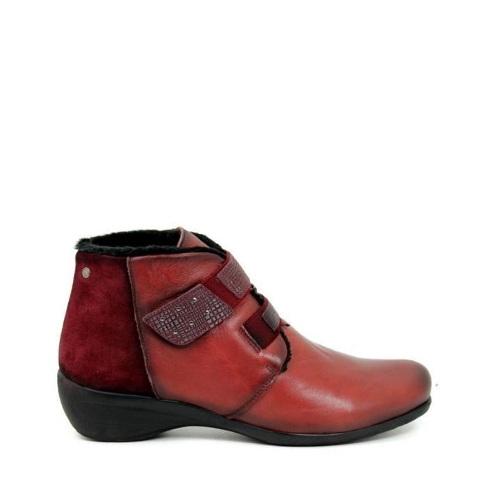 APLAUSO Bottines- Velcro - Cuir - Bordeaux - Taille - Quarante Femme Ref. 1912_18874