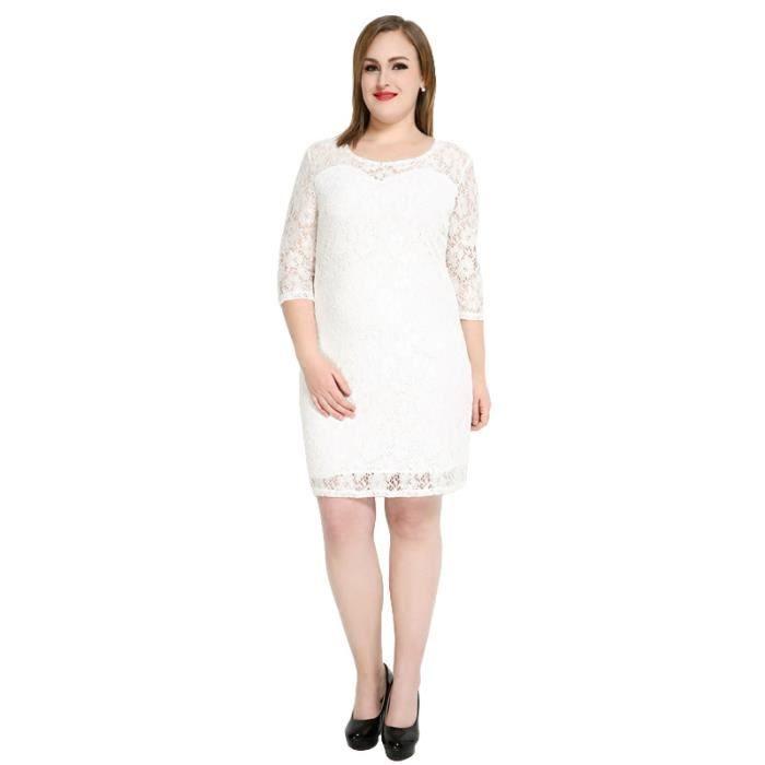 Robe Lace Sexy Femmes Ensemble de Manches Trois-quarts Forfait Hanche - Blanc
