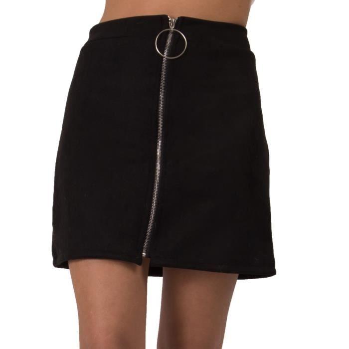 626cdc6f4b9127 Mini jupe femme coupe droite en simili daim avec zip avant-S Noir ...