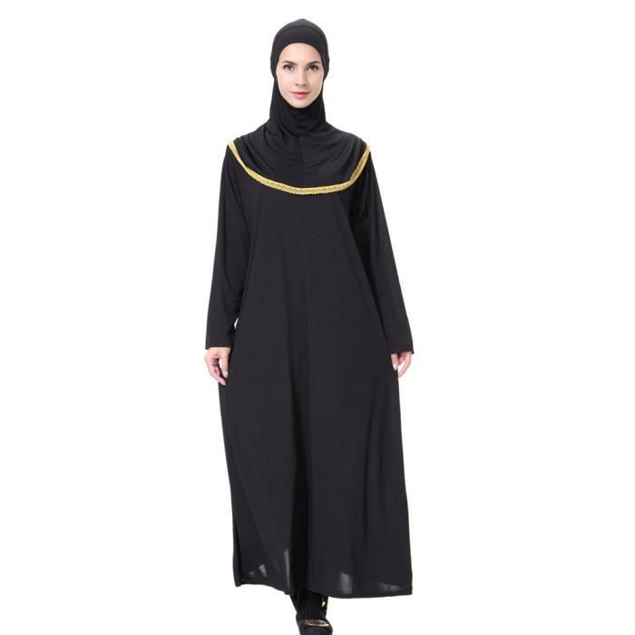 0ed2539ef612a Femmes Robe Lady Daily Casual musulman Soild à manches longues Robes longues  Vintage Fasion  Or