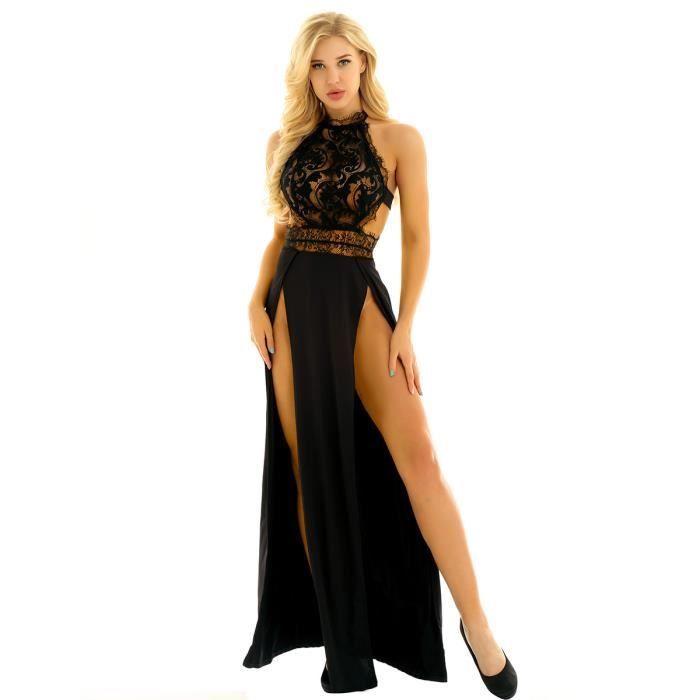 d4d8e23931 Robe de soiree dentelle dos nu femme sexy cocktail noir s - Achat ...