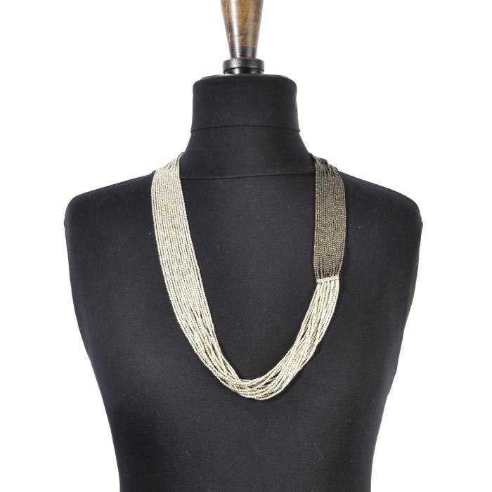 Long collier 15 rangs Argenté et noir - Nataraj Noir