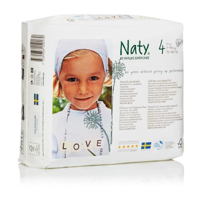 Naty Nature Babycare Taille 4 7 A 18 Kg 27 Couches Blanc Blanc