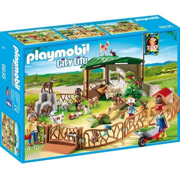 playmobil 6635 parc animalier avec visiteurs achat vente univers miniature cdiscount. Black Bedroom Furniture Sets. Home Design Ideas