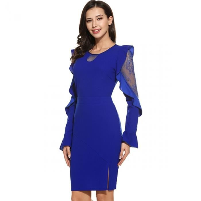 Robe crayon femmes dentelle Casual Flare Long manches Patchwork O cou