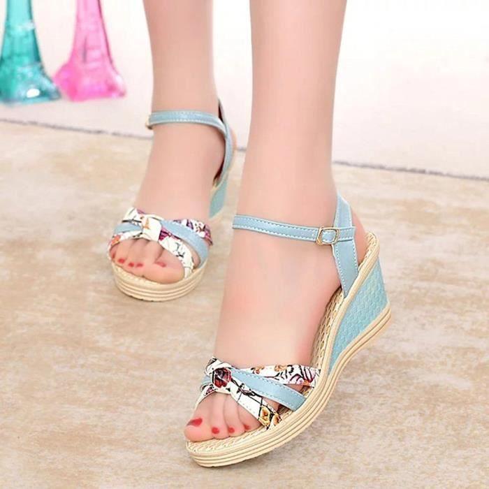 Minetom Femme Eté Fleur Impression Sandales Compensé Mode Multi-bride Corde Talon Compensé Plateforme Chaussures nRPKAUs