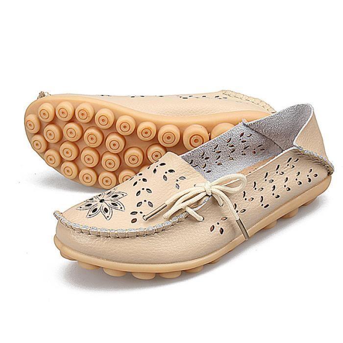 Mocassin Femmes Printemps Ete Mode Classique Plat Chaussure BGD-XZ086Beige34