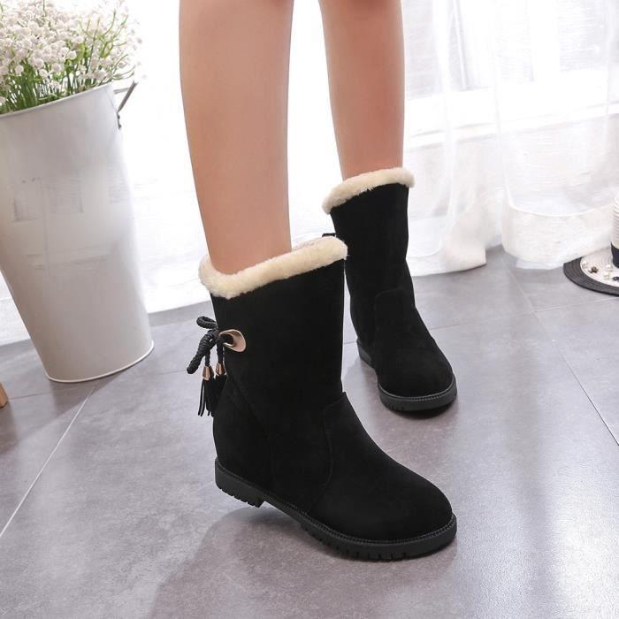 De Beguinstore Chaussures Talons Neige Bottines Mode D'hiver love2012 Bottes Femme Noir FFqRxTw