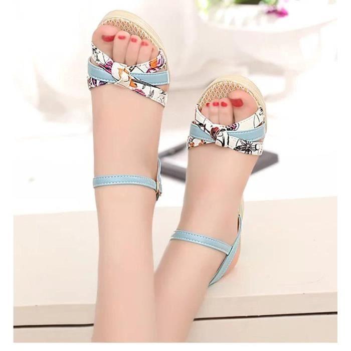 Minetom Femme Eté Fleur Impression Sandales Compensé Mode Multi-bride Corde Talon Compensé Plateforme Chaussures cS5aOemi2